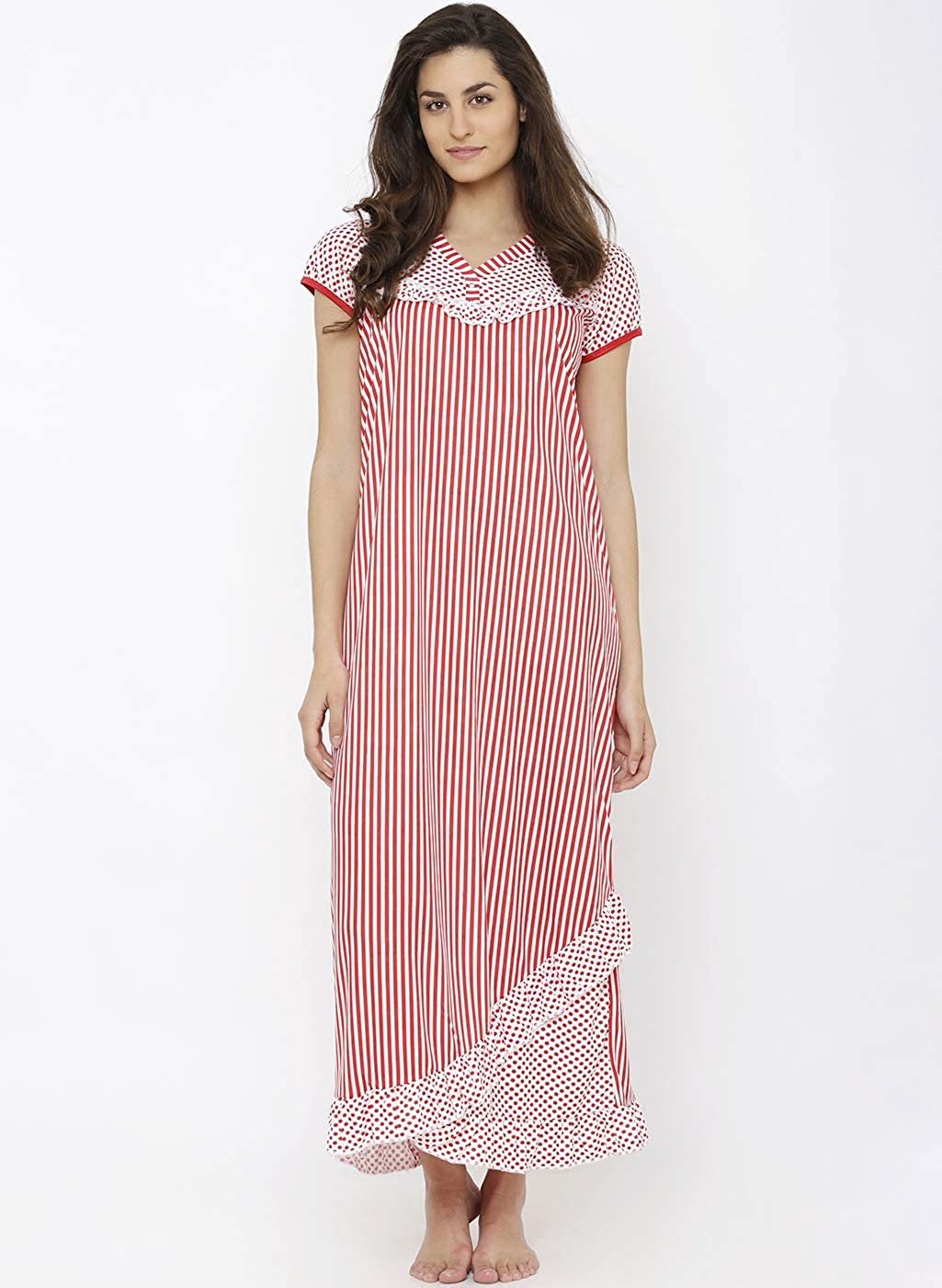 ce73d275de Pretty Awesome Women s Frill Nighty (Dots   Lines Print)  Amazon.in   Clothing   Accessories