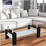 table basse - table de salle de séjour de Corium (110 x 60 x 45 cm) (plaque de verre) (noir) table / table en verre / desserte / salle de séjour / brillant