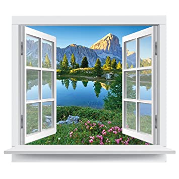 Fototapete offenes fenster  Premiumdesign Wandtattoo offenes Fenster italienische Dolomiten ...