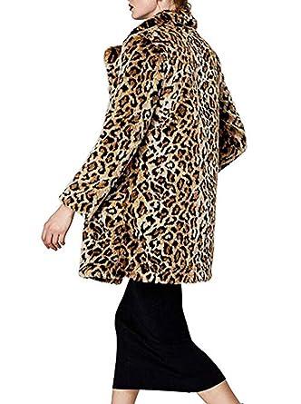 a65ebee59a96 Shilanmei Women Warm Long Sleeve Parka Faux Fur Coat Overcoat Fluffy Top Jacket  Leopard at Amazon Women's Coats Shop