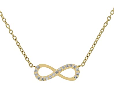 Genuine Gold Infinity Cubic Zirconia Pendant With Chain Set In 585