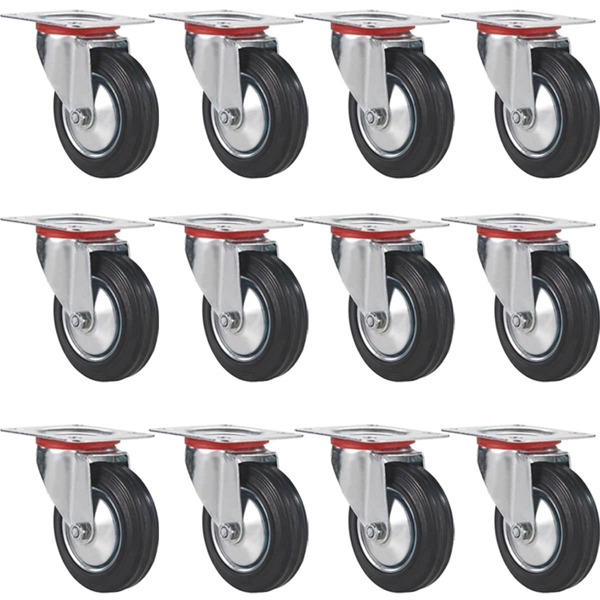 """12 pack swivel caster wheels 3/"""" rubber base with top plate bearing heavy duty"""