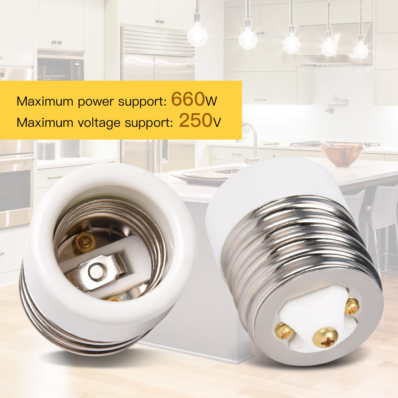 E39 to E26//E27 Adapter JACKYLED 1 Pack of Mogul E39 to Medium E26//E27 Light Bulb Lamp Socket Porcelain Converter Max Watt 660W JK104-E39//E27