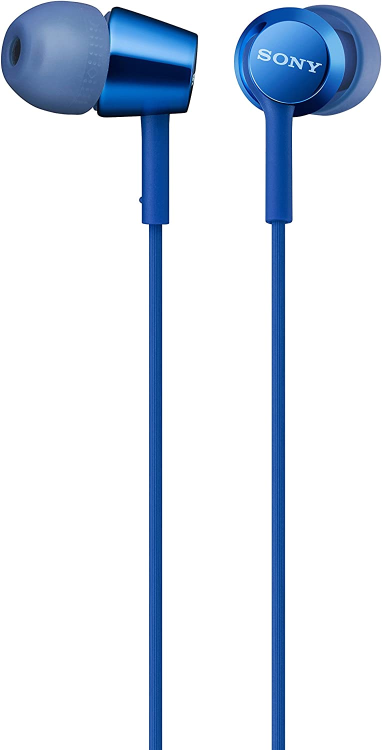 Sony MDREX155AP in-Ear Earbud Headphones/Headset with mic for Phone Call, Blue (MDR-EX155AP/L)