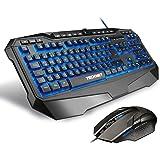 Gaming Tastatur und Maus Set, TeckNet® LED Illuminated Programmierbare Gaming Keyboard und Maus Set, 3 adjustierbare Hintergrundfarben, 10 programmierbare Tasten, Wasserresistente