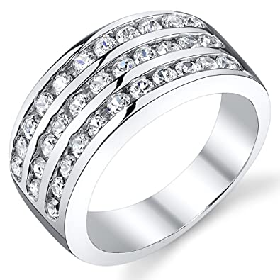 10MM Sterling Silver Mens Cubic Zirconia Wedding Band Ring Size 7