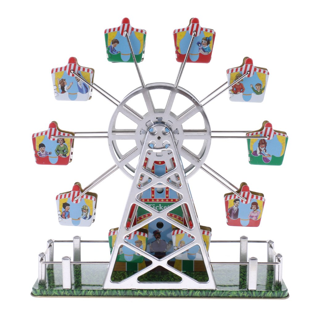 Dovewill Retro Wind up Spinning Ferris Wheel with Music Movement Clockwork Metal Tin Toy Collectible Gift by Dovewill (Image #8)