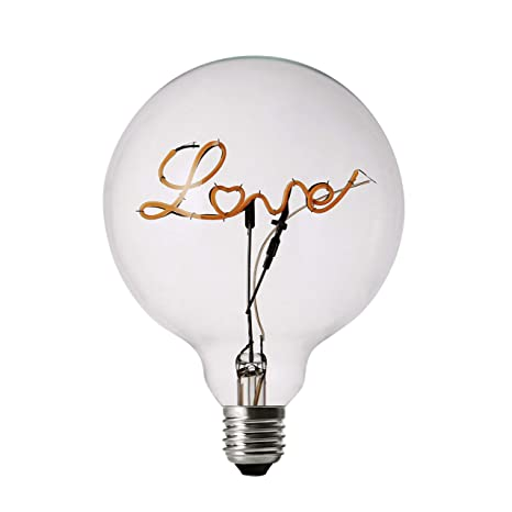 DarkSteve - Love LED Light Bulb - Edison Light Bulb, Modern Decorative Light, G125 Size, E26 Base, Dimmable (3w/110v) #1 Unique Gift - - Amazon.com