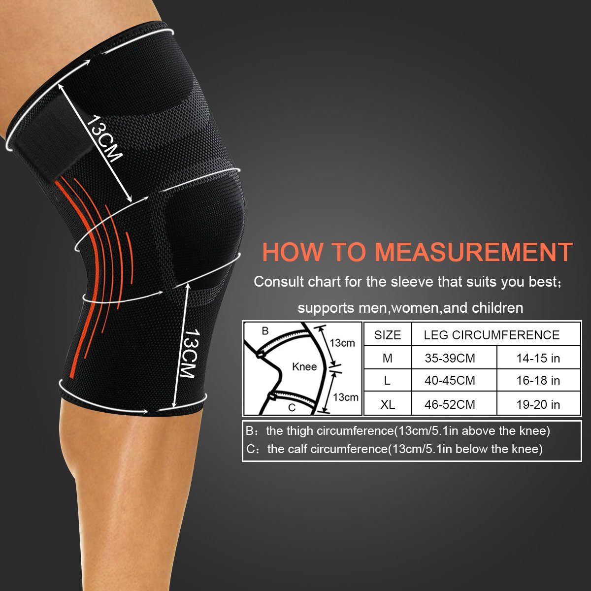 723ce25966 Amazon.com : Knee brace, NATUCE knee sleeve with removable non slip strap  for knee compression support-Single : Sports & Outdoors
