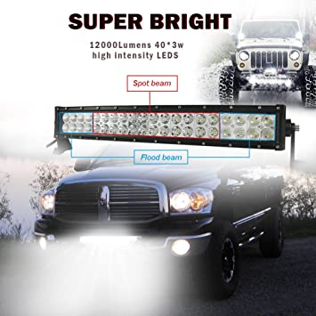 Easynew 20 Inch 120w Curved Led Light Bar Work Lights Flood Spot Combo Beam Ip68 Waterproof 10v 30v 3w 40 12000 Lumen For 4wd Suv Ute Offroad Truck Atv Utv With Wiring Harness Driving