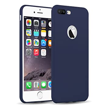 Funda iPhone 8 Plus, iPhone 7 Plus Case, JAMMYLIZARD Carcasa TPU Ultra Fina [ Jelly Case ] De Goma Silicona Back Cover, Azul Marino