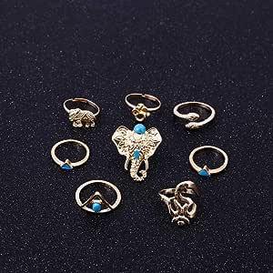 ZYFS 8 Unids/Pack Boho Retro Elefante Serpiente Anillos Azules Suerte Anillos Apilables Conjunto De Anillos para ...