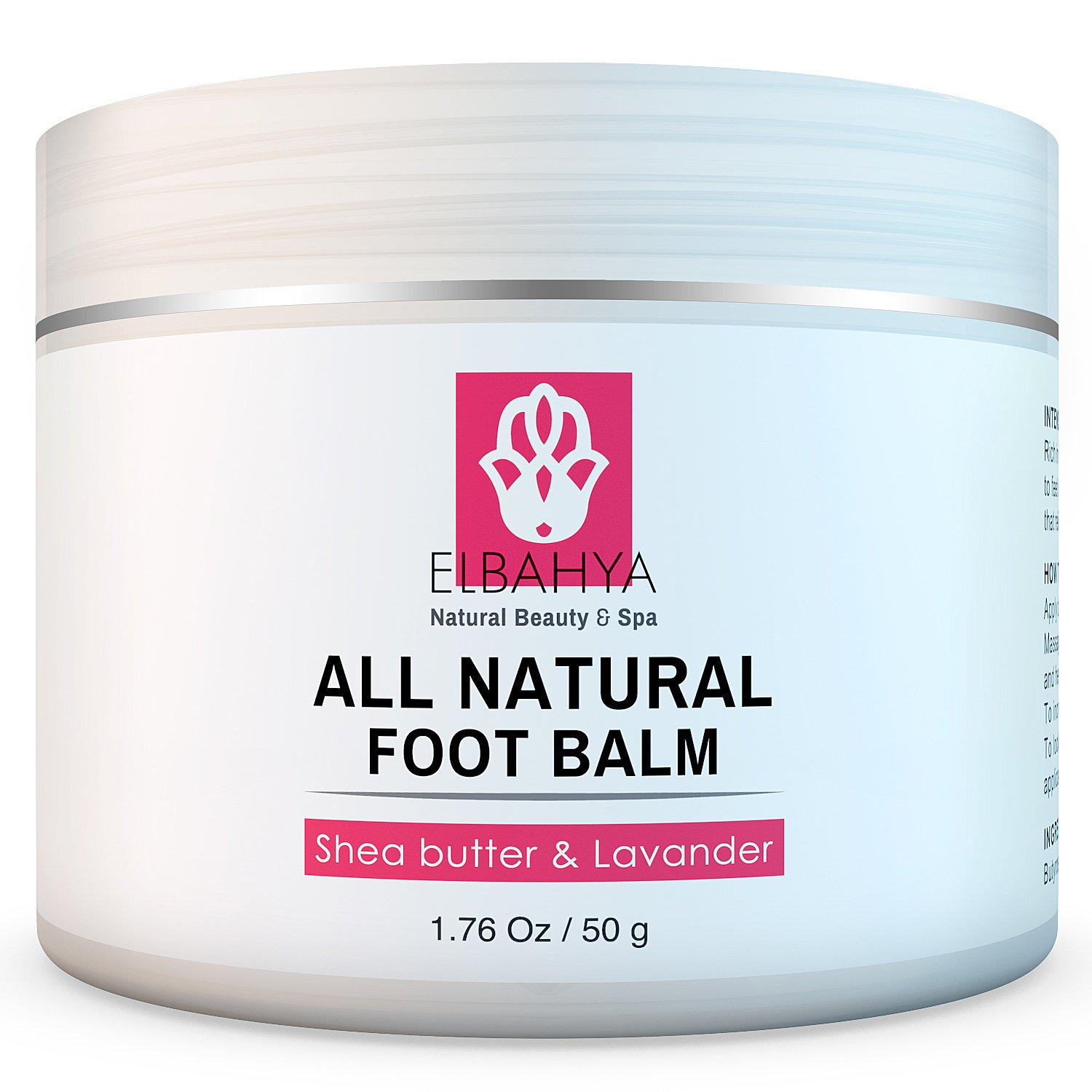Elbahya Organic Foot Balm with Shea Butter and Lavender Effective Natural Moisturizer for Dry Cracked Feet and Heels. 50g