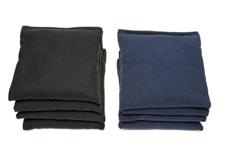 Weather Resistant Cornhole Bags (Set of 8) by SC Cornhole (Black/Navy Blue)
