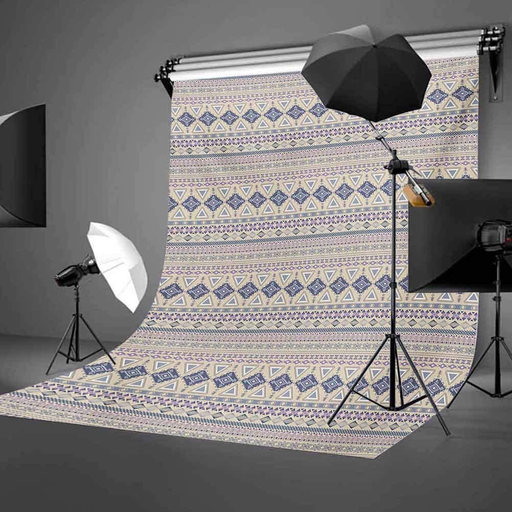 Antique Detailed Borders National Cultural Ornament Pattern Background for Party Home Decor Outdoorsy Theme Vinyl Shoot Props Eggshell and Blue Native American 10x15 FT Photography Backdrop