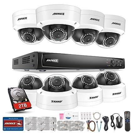 ANNKE Kit de 8 Cámaras de vigilancia Sistema de Seguridad(1080P PoE H.264