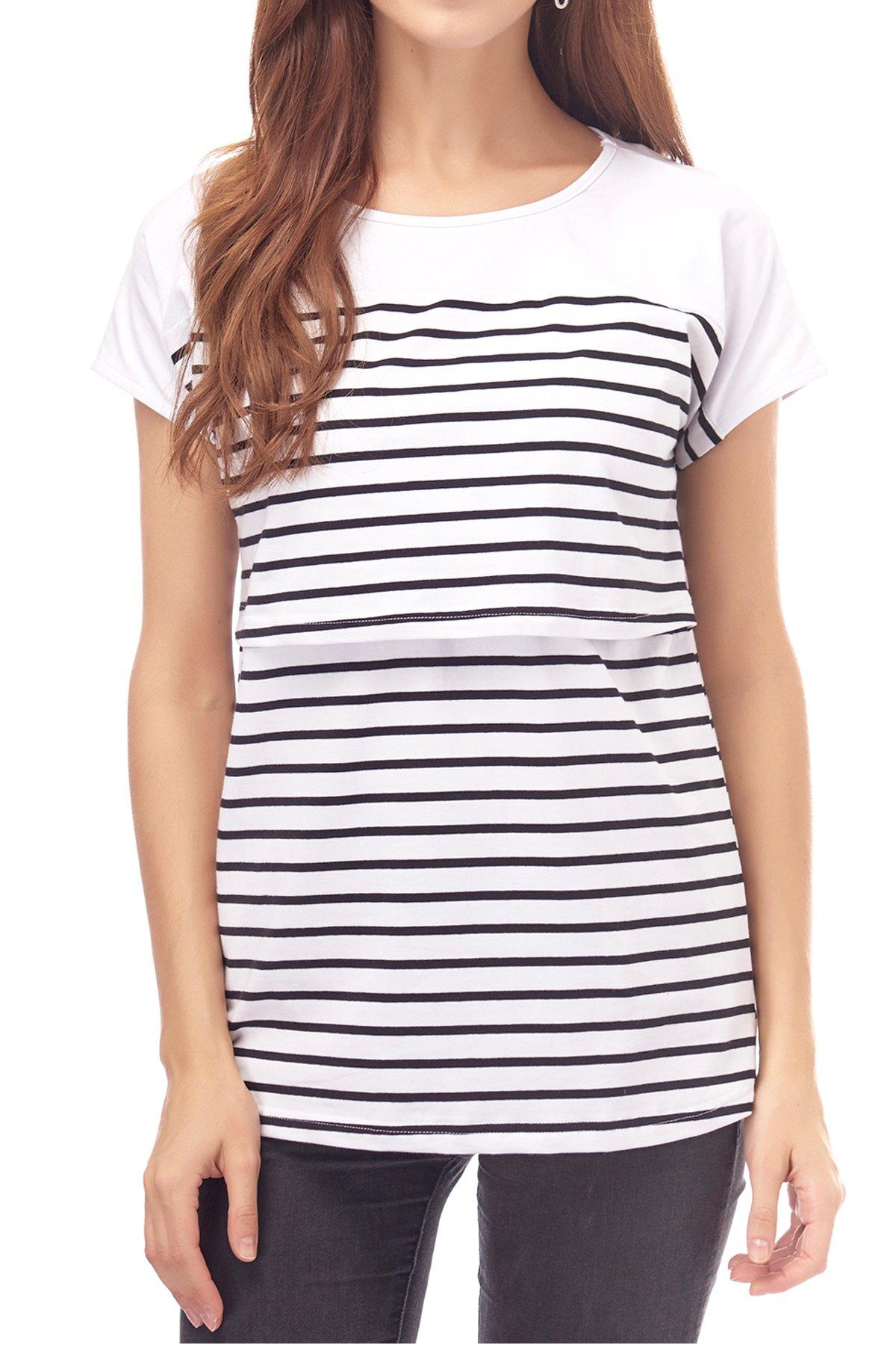 Smallshow Women's Maternity Nursing Tops Breastfeeding T-Shirt Large White