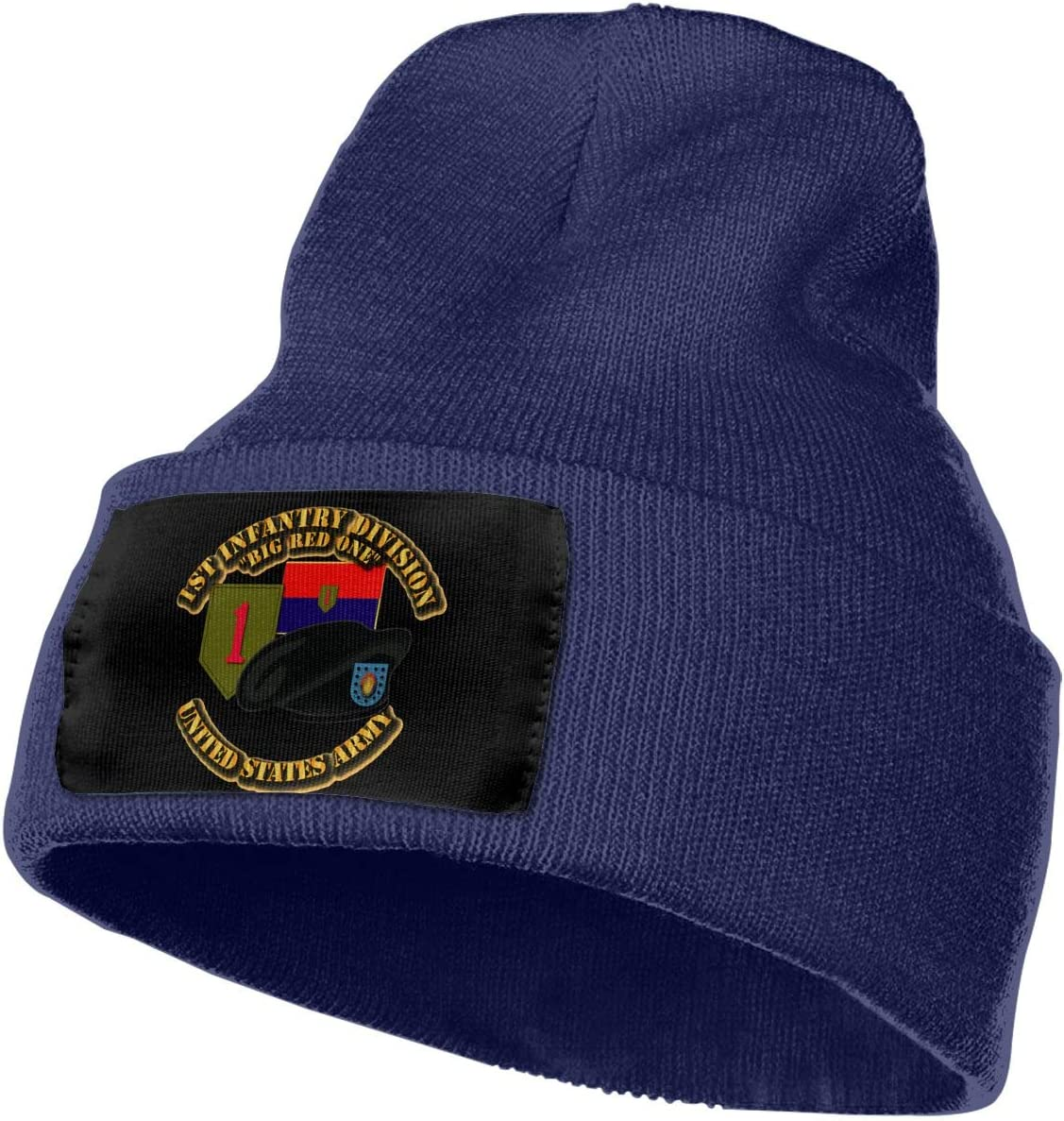 Army 1st Infantry Division Men/&Women Warm Winter Knit Plain Beanie Hat Skull Cap Acrylic Knit Cuff Hat