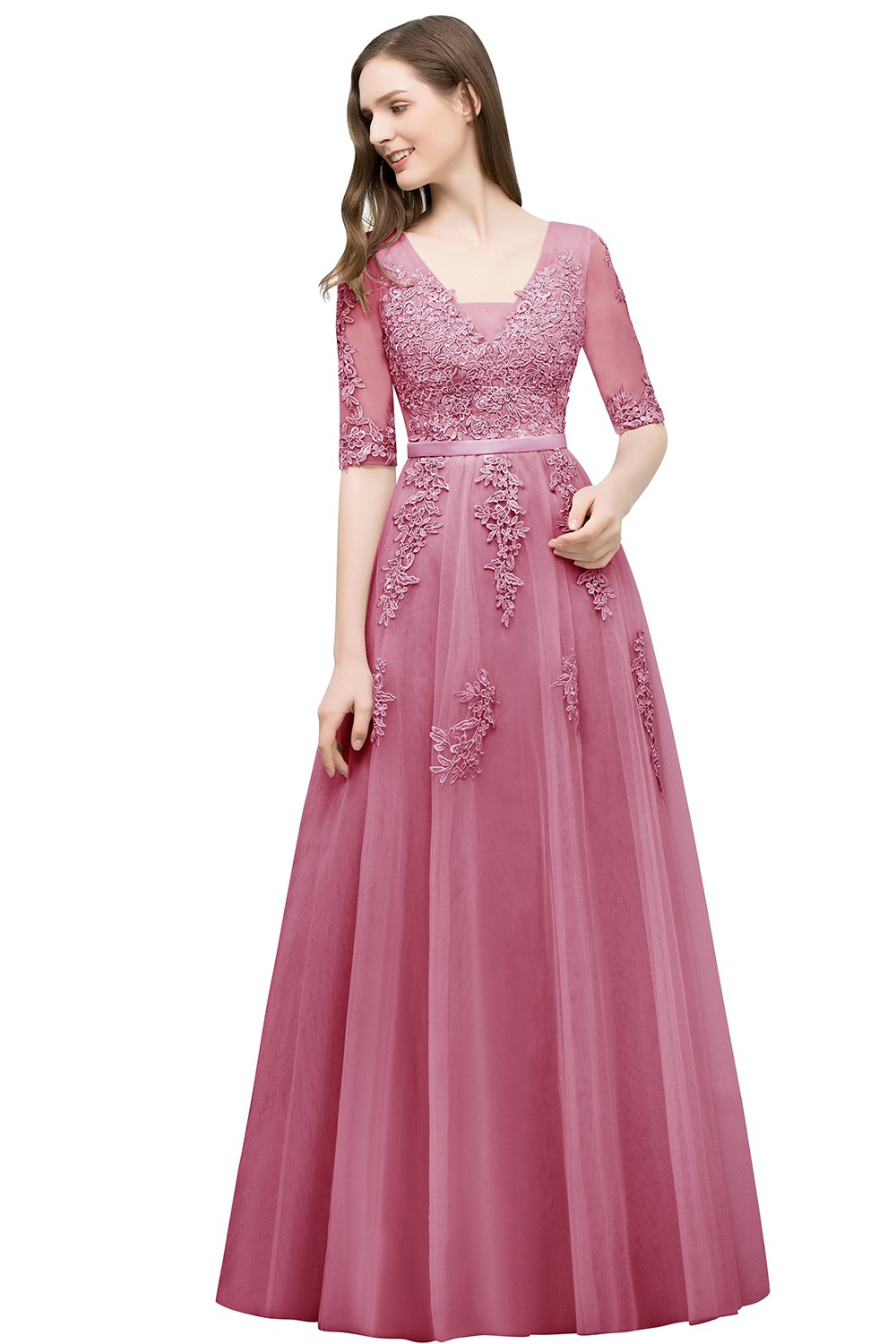 cb8f73ad5e6 MisShow 2018 Lace Applique Tulle Long Prom Dresses for Women Formal Dusty  Pink US4