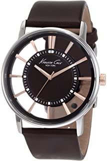 Kenneth Cole New York Mens Transparency Quartz Stainless Steel and Leather Dress Watch,