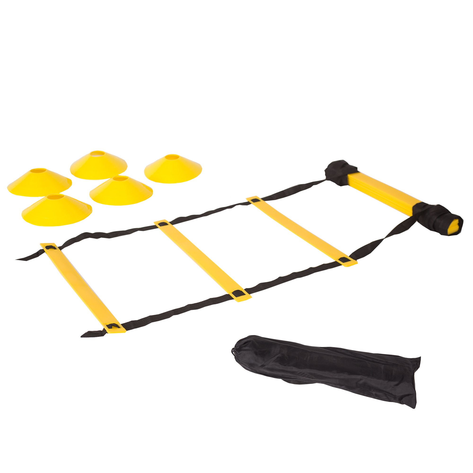 Quickness Training Equipment - Set of 15ft Speed Ladder, 10 Markers, 4 Pegs, Bag - For Faster Footwork And Better Movement Skills