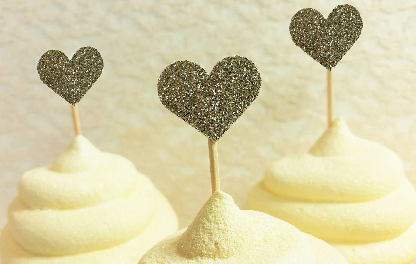 40PCS IFfree Best Heart Cupcake Toppers Bridal or Baby Shower Gold Glitter Heart Large Cupcake Toppers Golden Wedding,Weddings COMINHKG103988