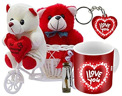 Buy Me You Romantic Gifts Surprise Message Pills Cycle Teddy With Mug Keychain For Wife Husband Girlfriend Boyfriend Fiance Lover On Valentine S Day Iz19cytwrmsgbott2mk H Dtlove 76 Online At Low Prices In India Amazon In