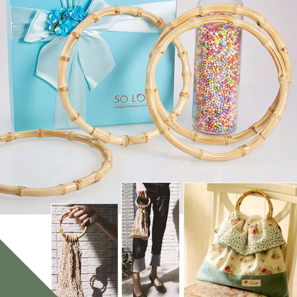 Inner Diameter: 5.9inch PH PandaHall 4 Pack Round Bamboo Purse Handbag Purse Handles Replacement for Handcrafted Handbag DIY Bags Accessories