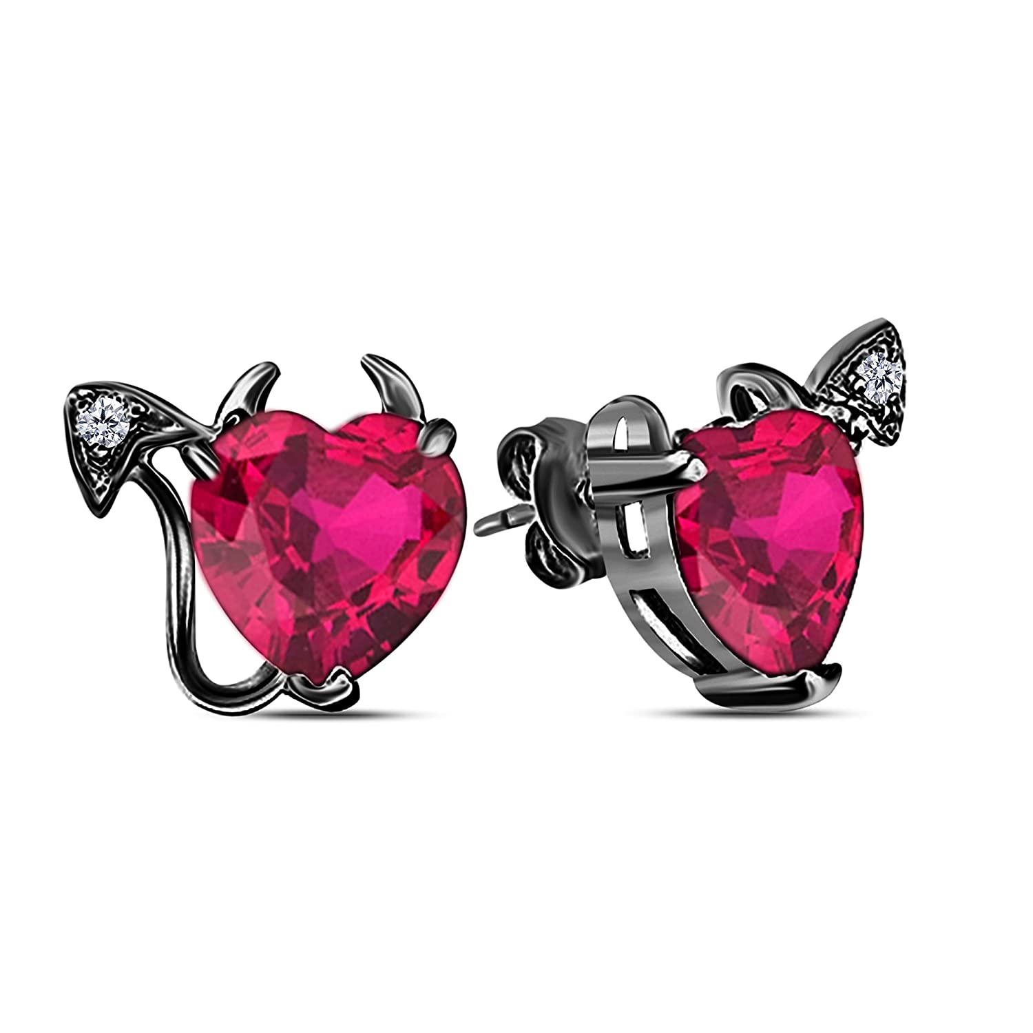 f0107496e44 Gothic Vampire Bat .925 Sterling Silver 14k Black Gold Plated CZ Ruby Stud  Earrings Fashion Jewelry for Women