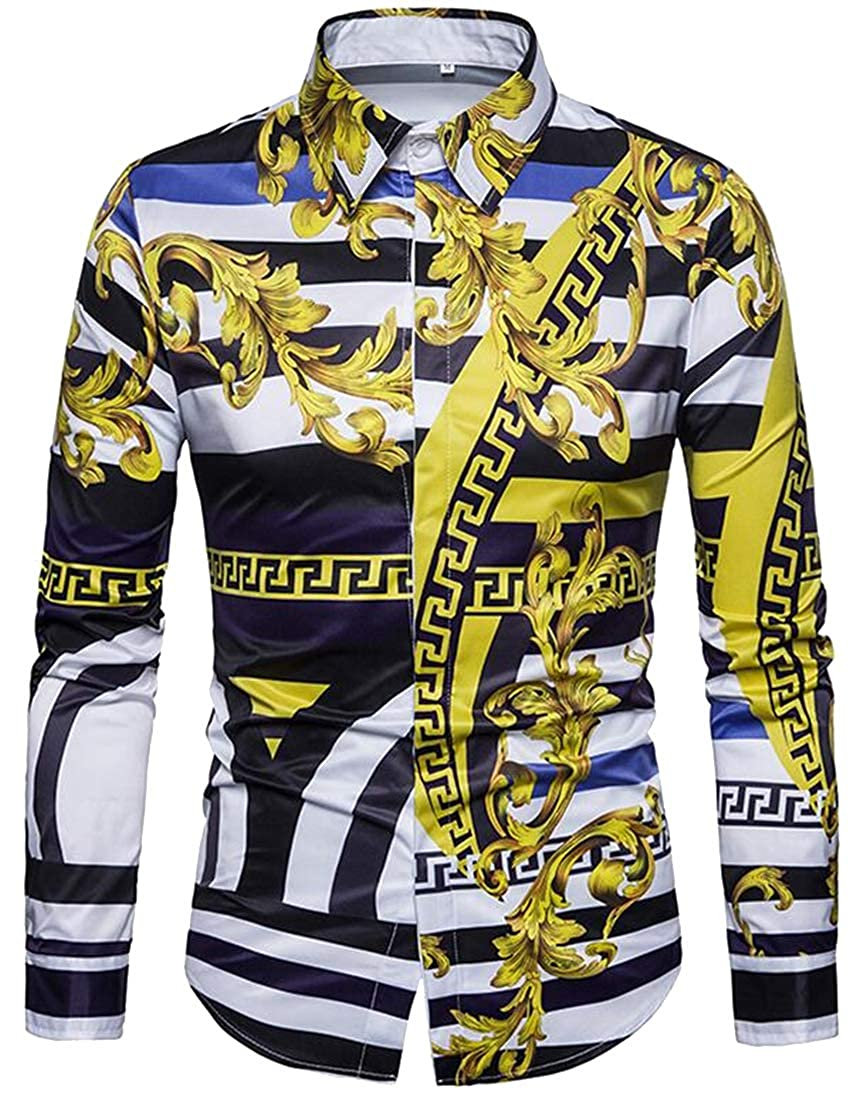 YYG Mens Slim Fit Floral Printed Long Sleeve Palazzo Turn Down Collar Dress Work Shirt