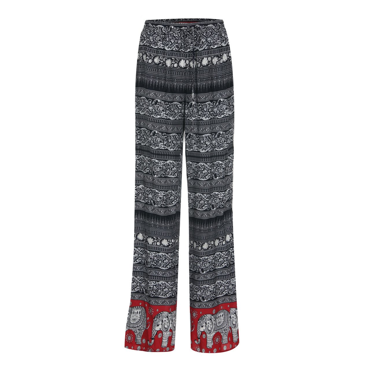 T.B.T. Women's Casual Printed Palazzo Pants Elastic Waist Band (A72P01-04RED-M)