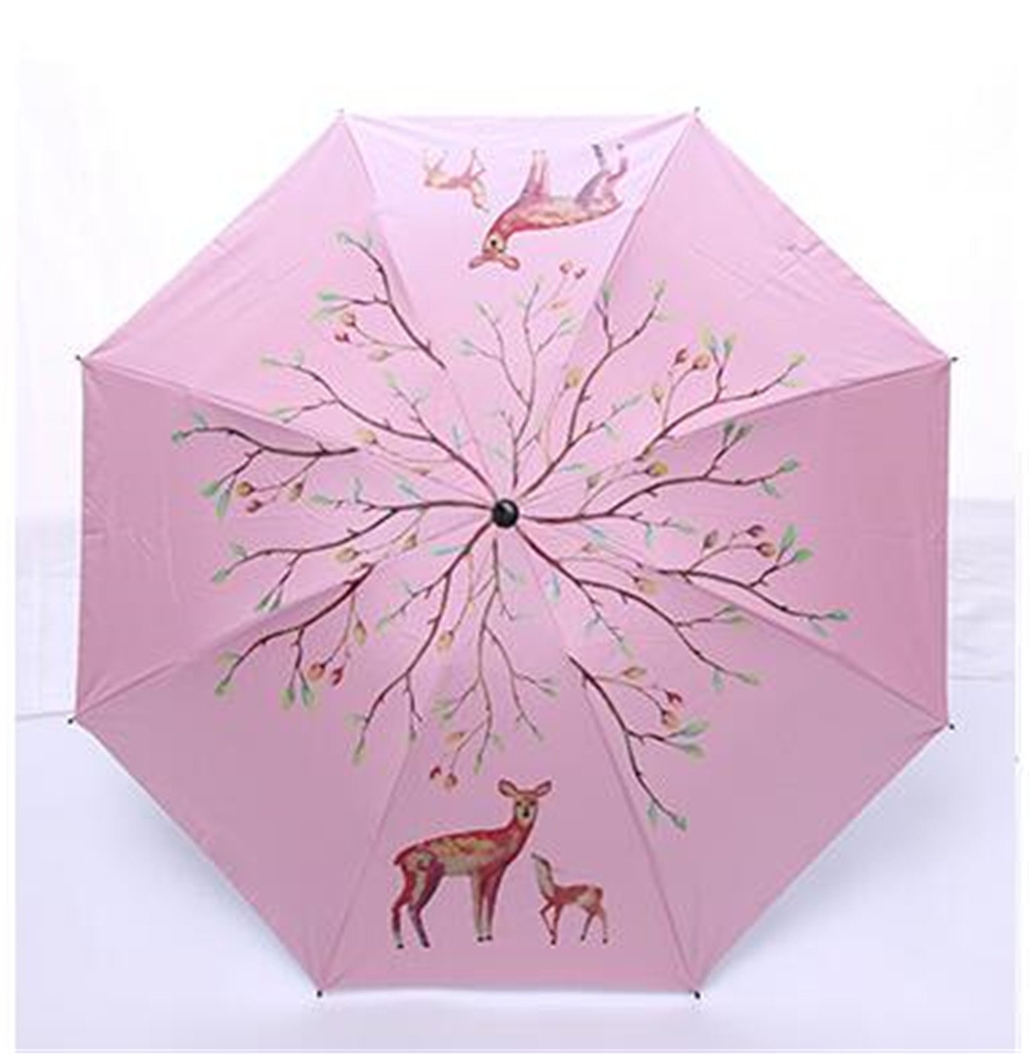 Amazon.com : QIANNVSHEN Deer Sunny Sun Umbrella Rain Women Animal Elk Umbrella Vinyl Sunscreen Small umbrella Navy Blue : Garden & Outdoor