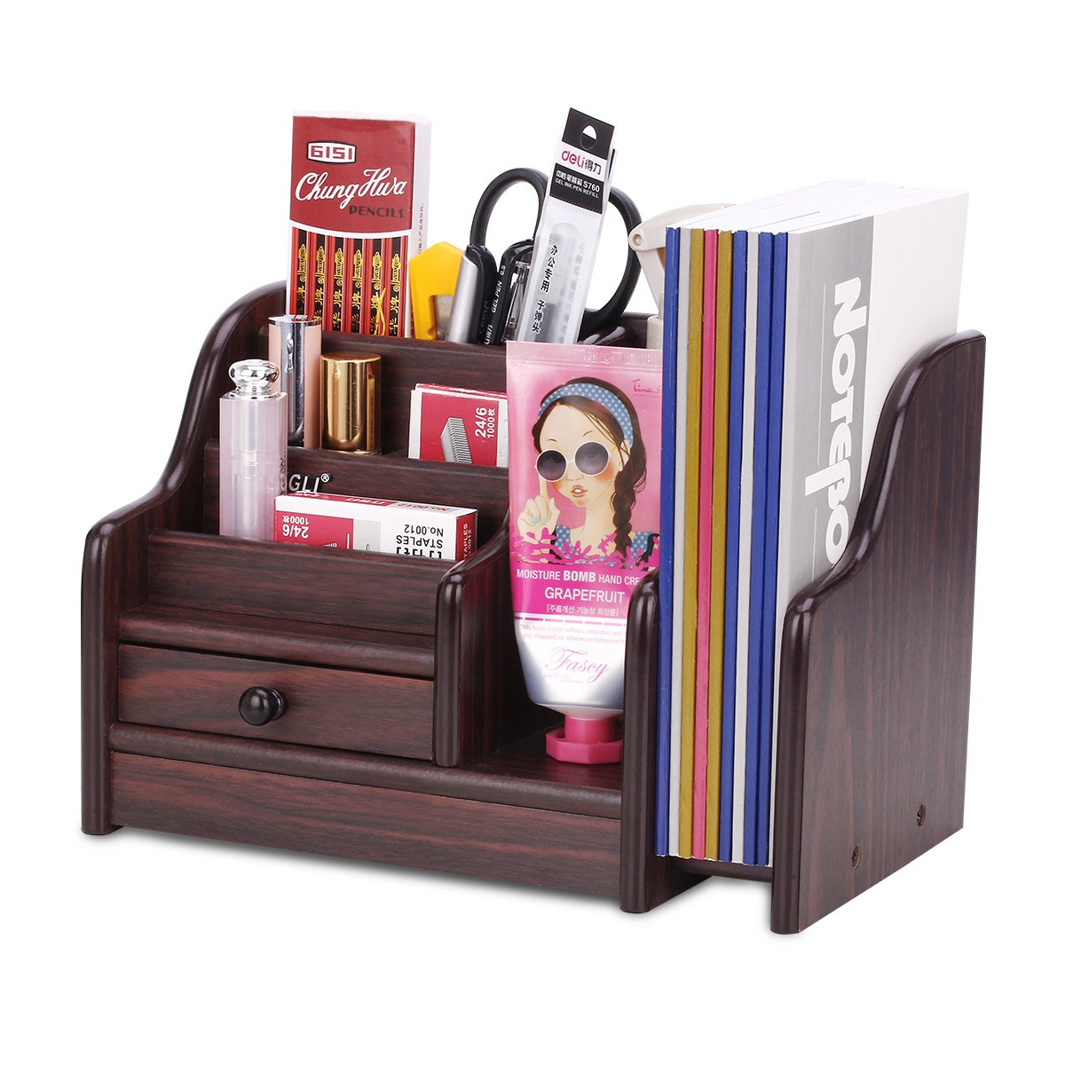 AZDENT Office Supplies Wood Desk Organizer with Drawer Expandable Mail Sorter Desktop Stationary Organizer