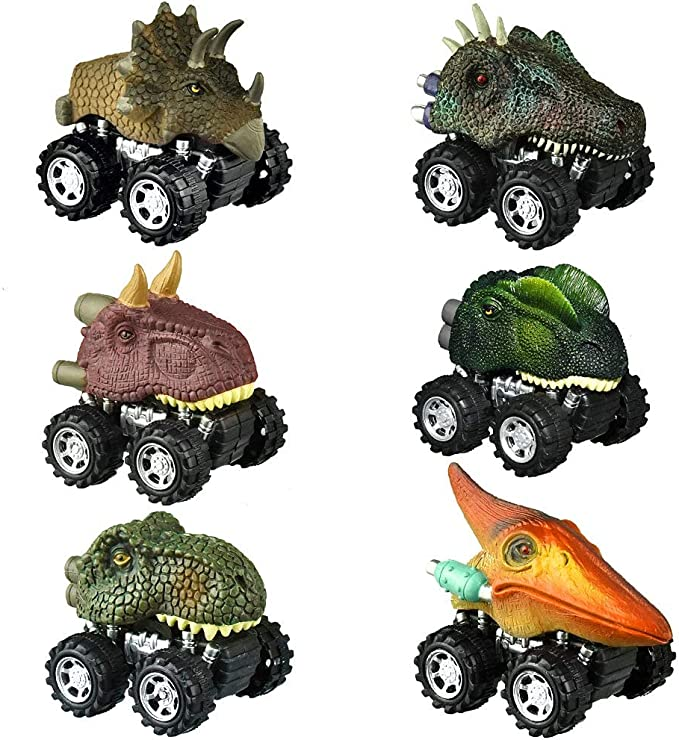 Press Toy car Dinosaur Push and go car Toy for Kids 2-5 Year Old Boys and Girls Toy,1 Pack ZHFUYS Dinosaur Toy Wheel Color Random