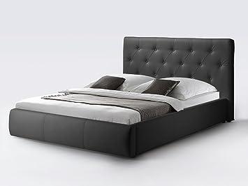 aee9c319be CAVADORE Kunstleder Bett mit Stauraum CLARA in Schwarz/Qualitativ  hochwertiges Funktionsbett aus Kunstleder mit gestepptem