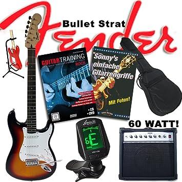 """s de guitarra Fender Original """"Rock Entrenamiento Juego"""" Squier Bullet Strat Sunburst"""
