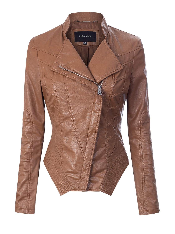 Ijkw056 Camel Instar Mode Women's Long Sleeve Zipper Closure Moto Biker Faux Leather Jacket