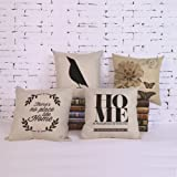 Throw Pillow Covers Cotton Linen Sofa Cushions Case Standard 18 x 18 for Couch Set of 4