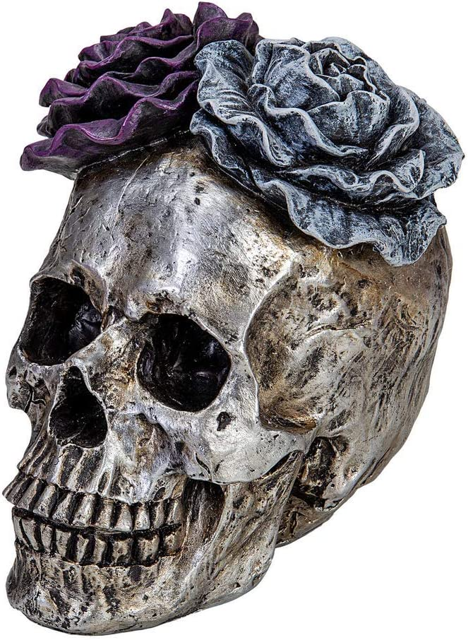 "E.SUN CRAFT Halloween Skull Statues Home Decor Day of Dead Purple Grey Rose Silver Skull Resin Figurine Flower Skull Decor 7.25"" L"