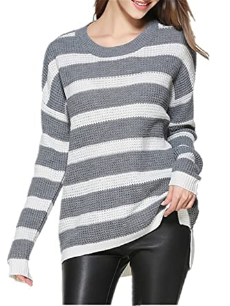 901602e329 David Salc Plus Size Striped Women Sweaters And Pullovers Female Autumn  Winter Knit Sweater Women Tricot Jumper Pull Femme at Amazon Women s  Clothing store