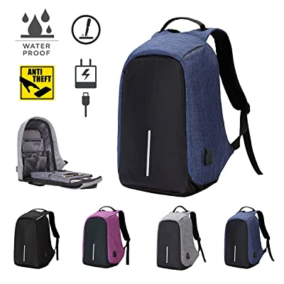 Anti Theft Laptop Backpack 2018 Design Waterproof School Backback With USB Charging Port Business Bag Muti Function Shoulder Bag Gray Black Purple (Blue) new