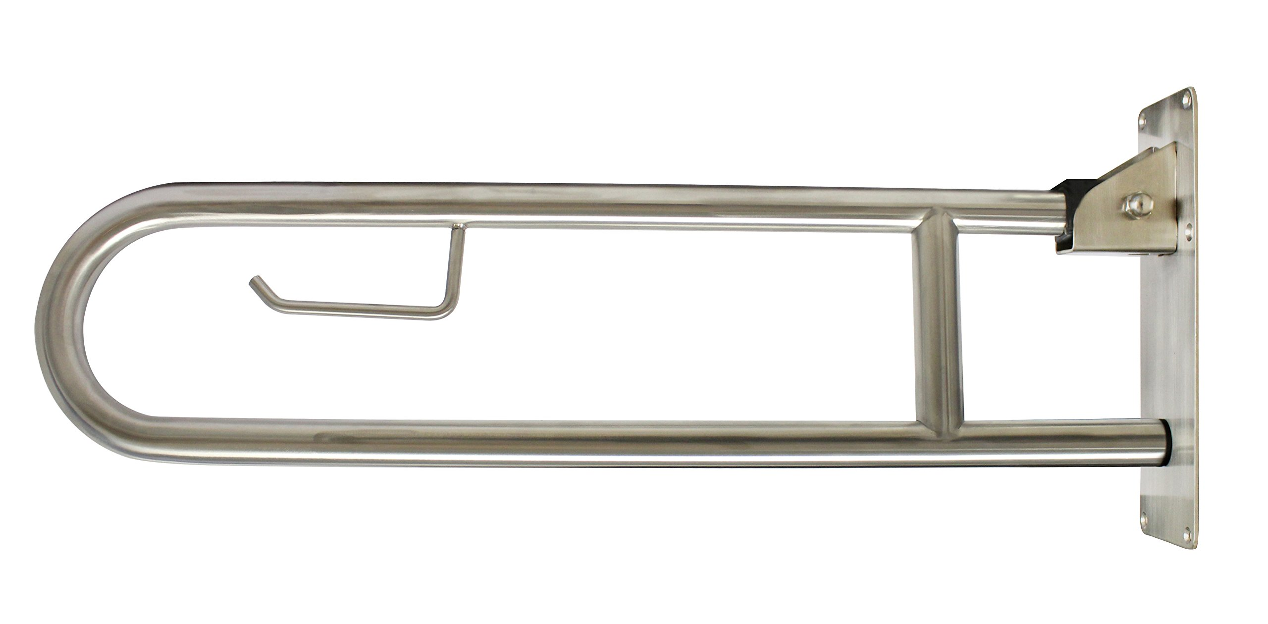 Keeney PP19701 Universal Swing Away/ Flip Up Stainless Steel Grab Bar with Built in Toilet Paper Holder, 30 x 7.75 x 1.94 inch Stainless Steel