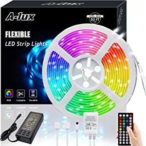 50ft RGB LED Strip Lights Kit, A-1ux 15M Flexible Color Changing LED Light Strips with DC24V Power Supply 44Key IR Remote Controller, Decor for Bedroom,Party,Bar ,Kitchen