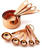 9 Piece Copper Stainless Steel Measuring Cups and Spoons Set with Engraved Measurements, 2 D-Rings & Mirror Polished for Dry, Liquid Ingredients, Cooking & Baking
