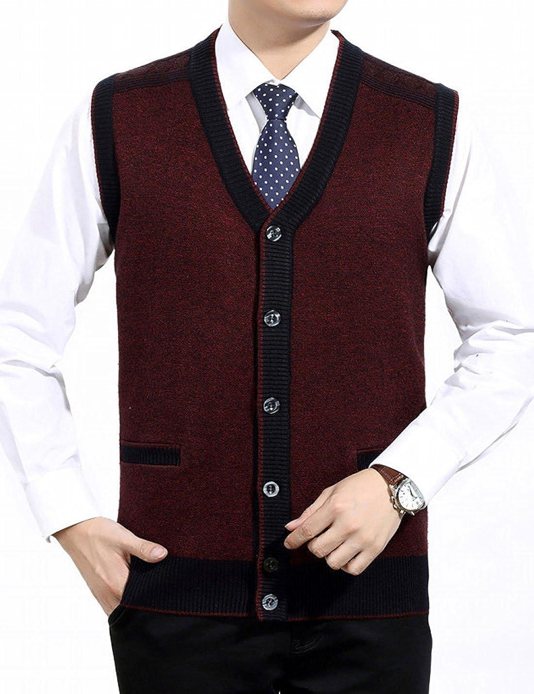 Yeokou Mens Slim Button Down V Neck Wool Sleeveless Cardigan Sweater Vest Gilet