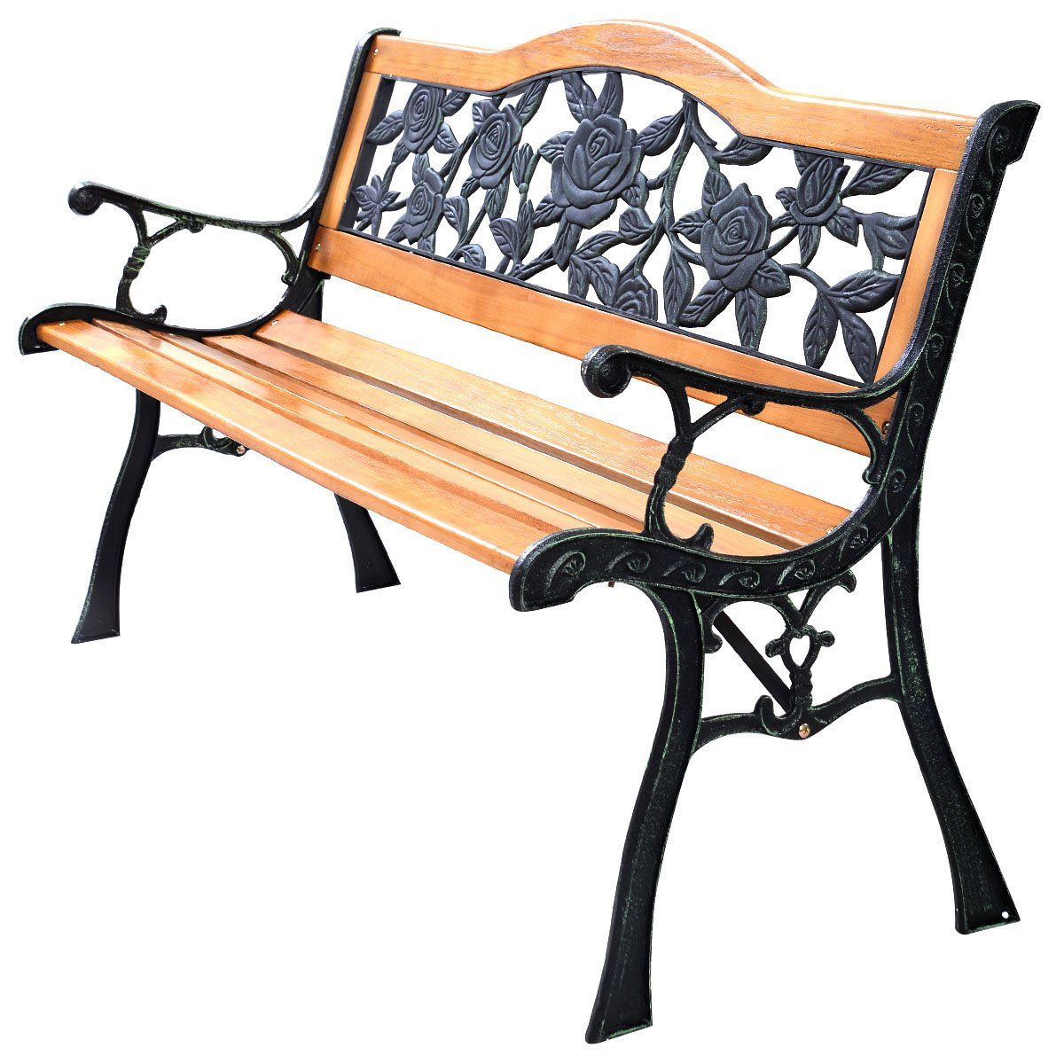 Giantex Patio Park Garden Bench Porch Path Chair Furniture Cast Iron Hardwood