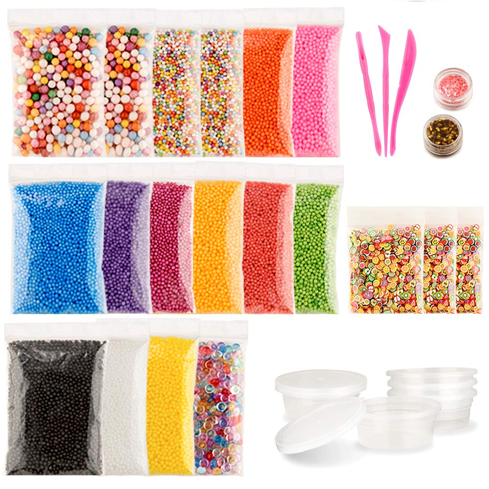 22 Pack Slime Making Kit Included Foam Balls, Fishbowl Beads, Slime Storage Containers, Star Confetti with Fruit Slice for DIY Art Craft, Wedding and Party Decoration, Bonus 1 Set Slime Tools LUMAND
