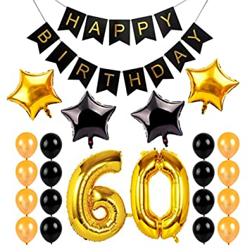 23 pcs Decoraciones para Feliz Cumpleaños del 60 Año,GZQ ...