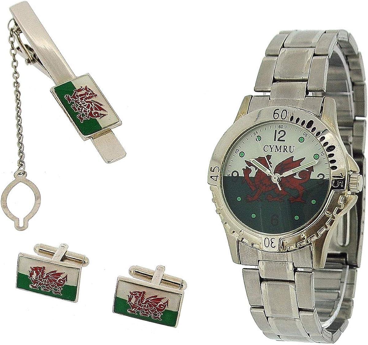 Boxx Juego de Regalo Para Caballero Gemelos Y Reloj Azul De Pulsera De Metal Bandera Gales CYMRU: Amazon.es: Relojes