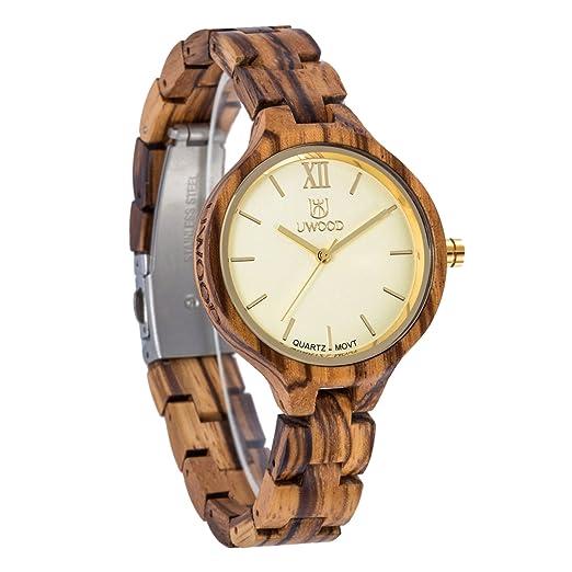 Reloj de Madera para Mujer, 36mm Unique Small Lady Girl Women Reloj de Madera Relojes